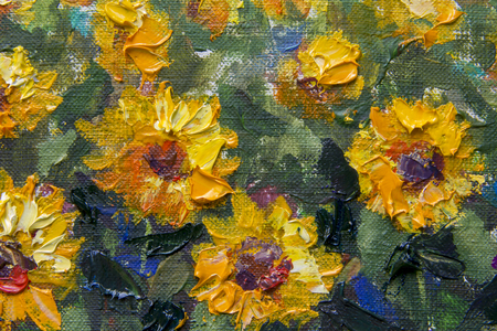 sunflowers palette knife painting Impressionism. Field Yellow orange sunflowers on the green - a textured fragment of a close-up oil painting. Illustration flowers of a sunflower on a canvas artwork