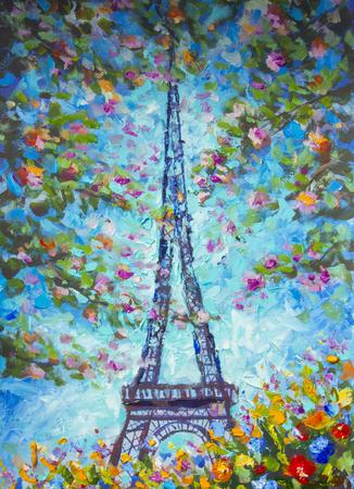 Malerei Öl Eiffelturm im Frühling bunte Blumen Frühling romantischen Eiffelturm Paris. Standard-Bild