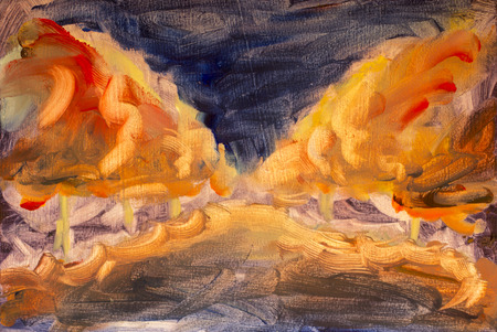 Abstract landscape orange night park alley forest wood oil painting. Expressionism trees in night