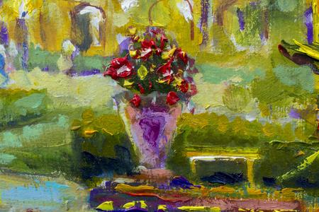 Vaso con fiori frammento di pittura a olio arte impressionista