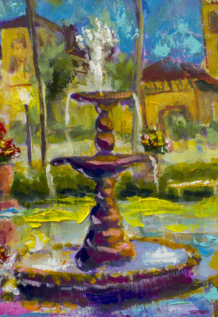 Schönes Brunnenfragment des Ölgemälde-Impressionismus-Kunst-Kunstwerkillustration