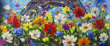 Fiori luminosi della pittura a olio astratta fatta a mano originale fatti spatola. Fiori astratti rossi, gialli, blu, viola. Pittura macro impasto.