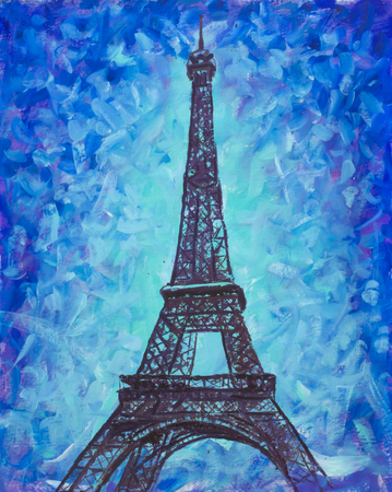 Eiffel Tower, Paris on a blue background handmade palette knife oil painting. Romantic Eiffel Tower artwork illustration