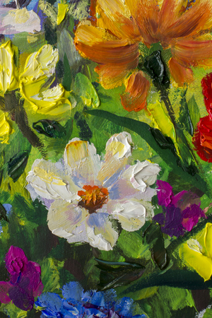 Big Multicolored spring flowers impressionist palette knife oil painting fragment close-up macro artwork flower nature