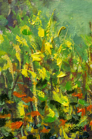 Abstract flowers in grass original oil impasto painting palette knife impressionism illustration artwork Stock Photo