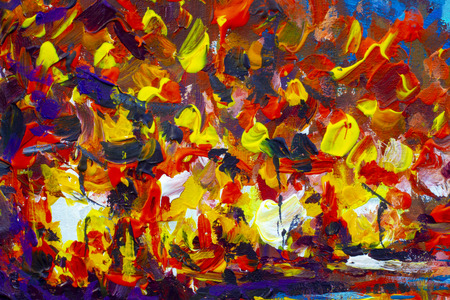 Expressionism is an orange night city - a fragment of an abstract painting, the energy of a night city on canvas. Impressionism close-up. Stock Photo