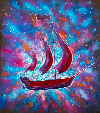 Travel in space on an old sailing ship. Pirates, Peter Pan. A ship in the starry sky of the universe. Oil painting on canvas.