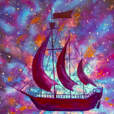 Oil painting Old pirate ships in space, Peter Pan, starry sky, purple blue universe illustration for book artwotk