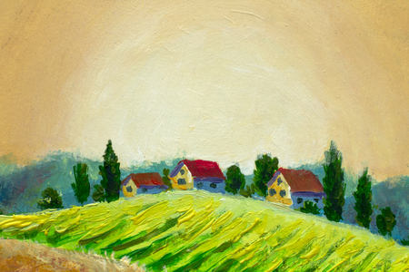 Rural landscape with houses, trees and farm. Tuscan green field on a hill, high yield. Handmade painting for sticker label artwork illustration
