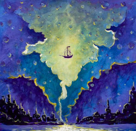Old pirate ship, Peter Pan in space over black night city painting, stars drawing