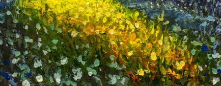 Primer plano macro original abstracto hecho a mano pintura al óleo hecha a mano con flores brillantes hechas con espátula. Flores abstractas rojas, amarillas, azules, púrpuras. Cuadro macro empaste.