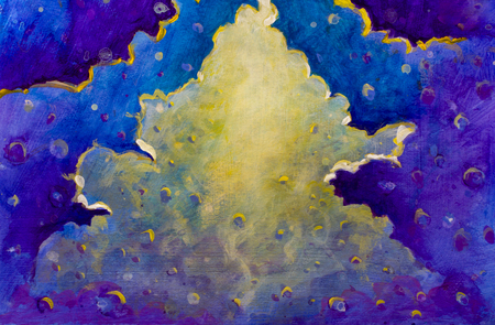 Abstract painting light in the universe, clouds of the mountains many planets - space plot illustration art