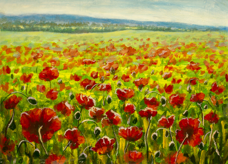 Mohnfeld und Berge - modernes Impressionismus-Ölgemälde auf Leinwand
