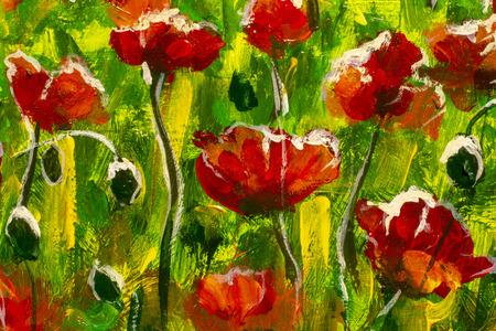 Grandes amapolas rojas en la hierba verde - fragmento de una pintura