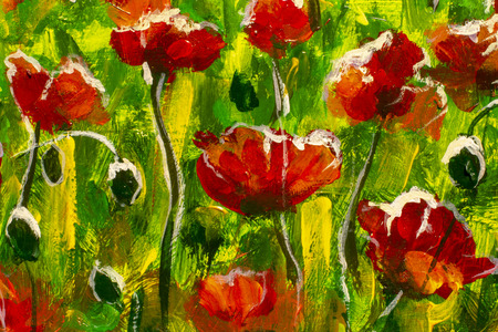Large red poppies in green grass - fragment of a painting