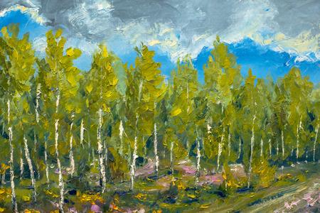 Modern painting palette knife impasto impressionism - spring nature, landscape oil artwork, beautiful birch trees, blue sky illustration fine art. Standard-Bild - 109406691