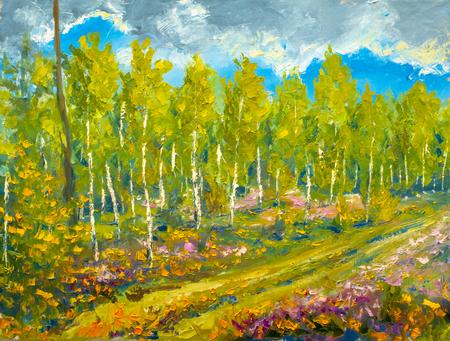 Modern painting palette knife impasto impressionism - spring nature, landscape oil artwork, beautiful birch trees, blue sky illustration fine art. Zdjęcie Seryjne
