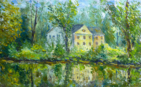 Old cozy house among green trees and bushes - summer landscape - oil painting and palette knife, impasto close-up impressionism illustration. Zdjęcie Seryjne - 109406612