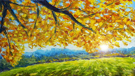 A branch of an autumn tree with golden orange foliage over a green field - autumn landscape - oil painting and palette knife impasto close-up impressionism illustration. Stock Photo