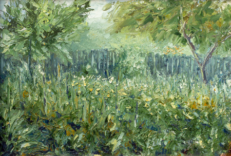 Green garden in the summer - Painting modern expressionism oil and palette knife on the canvas impasto fine art. Foto de archivo - 109406616