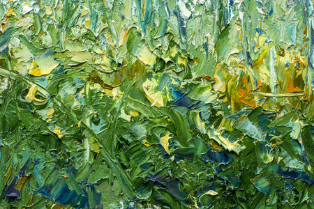 Fragment of oil painting and palette knitting close up impressionism - spring nature flowers, green foliage oil illustration. Stock Photo