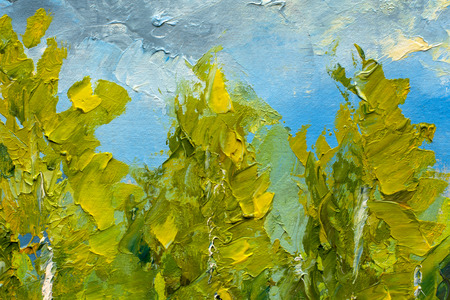 The tops of green trees on a background of blue sky and clouds - a fragment of painting - painting with oil and palette knife close-up illustration of Impressionism. Stock Photo