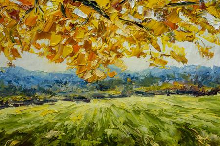 beeldende kunst Landelijk zomerlandschap, boerderij - Fragment van olieverfschilderij en palet breien close-up impressionisme illustratie. Stockfoto