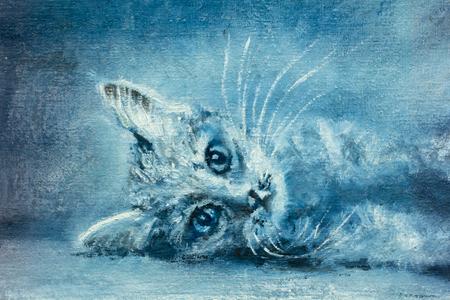 Beautiful young cat, kitten - Contemporary oil painting, illustration Standard-Bild - 109406569