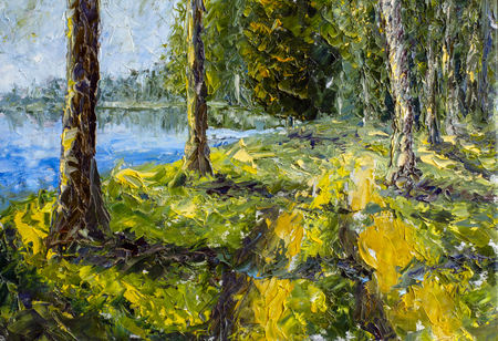 Long tall trees on green bank near blue water lake - summer landscape - fragment of oil painting and palette knife close up impressionistic illustration, fine art.