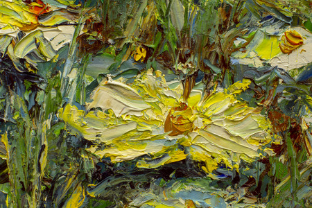 Large flowers of field chamomile - fragment of oil painting and palette knife close up impressionism illustration.