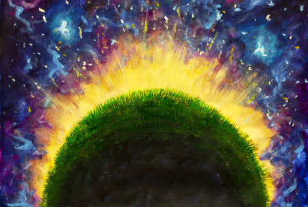 oil painting on canvas-The glowing green planet of the little Prince in purple space - Modern Art
