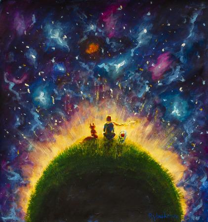 Origineel olieverfschilderij Kleine prins en vos en rode roos zittend op gras onder de sterrenhemel. Kleurrijke illustratie. Stockfoto