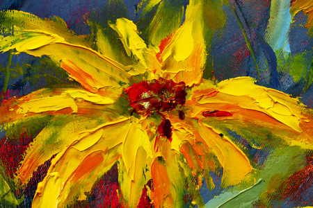 Flowers painting, yellow wild flowers daisies, orange sunflowers on a blue background, oil paintings landscape impressionism artwork fine art