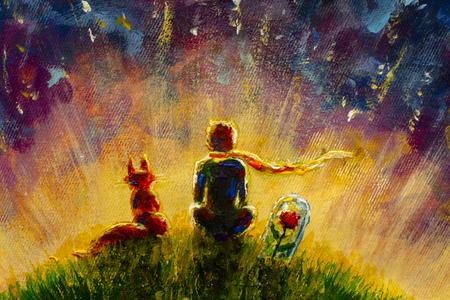 Dipinto a olio originale Piccolo principe e volpe e rosa rossa seduti sull'erba sotto il cielo stellato. Illustrazione colorata. Archivio Fotografico