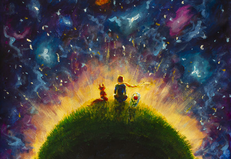 Original oil painting Little prince and fox and Red Rose sitting on grass under starry sky. Colorful illustration.