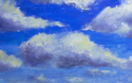 Original oil painting, contemporary style, made on stretched canvas with palette knife and brush beautiful clouds in the blue sky Banco de Imagens