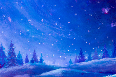 Oil painting Christmas background artwork illustration art. Christmas trees in night merry magic forest wood drawing. Let it snow in Holiday background Standard-Bild - 114546058