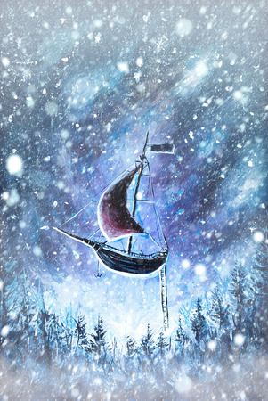 Winter snow background. Blurred snowflakes on Original oil painting Flying an old pirate ship. Beautiful Sea ship is flying above starry sky - abstract fairy tale, dream. Peter Pan. Illustration. Postcard painting.