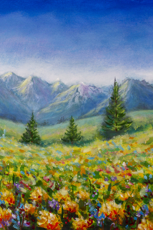 Original oil painting on canvas. Flower meadow in the mountains illustration - a beautiful flowers field landscape. Modern artwork art.