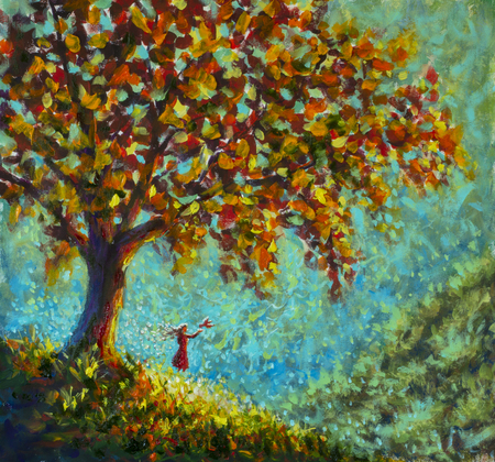 Original oil painting Symbol beauty of nature - girl woman in red dress releases pigeon bird from her hands. Big tree, sunny mountainside, fabulous illustration artwork for book Stock fotó