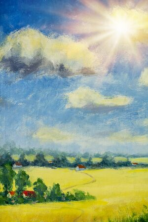 Beautiful acrylic painting on canvas. Sunny country landscape. Beautiful summer nature - yellow flowering field, farm houses in village. Zdjęcie Seryjne