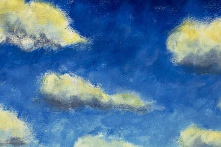 Beautiful warm big fluffy clouds on blue sky - oil painting on canvas - enlarged fragment of painting summer landscape