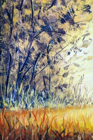 Beautiful yellow orange abstract background of nature, forest and trees - oil painting on canvas. Evening in the park. Zdjęcie Seryjne
