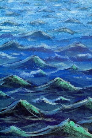 Waves Seascape oil painting. Illustration of the sea big waves. Blue ocean.