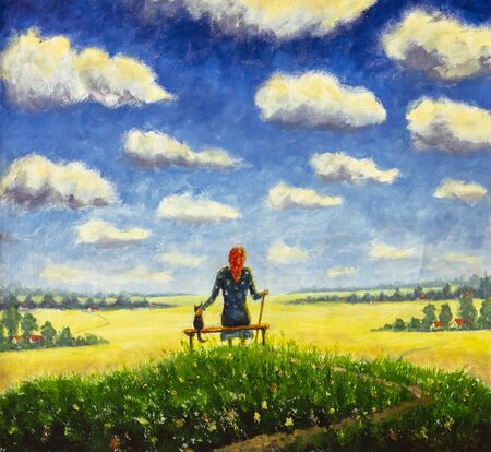 Oil painting is concept of old age, an elderly person, unity with nature. Beautiful old woman grandmother sits with cat on bench and enjoys flowering summer field and blue sky with large clouds.