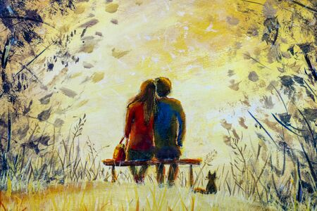 Oil painting romance and love. A loving couple and cat - young man and beautiful girl are sitting on bench and enjoying beautiful view of yellow sunset. Romantic landscape.
