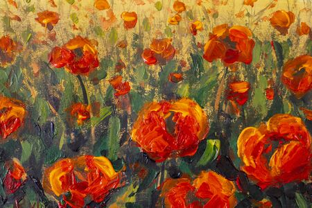 Painting Glade of red large poppies flowers in green grass close-up. Floral Landscape Red Poppies - Oil Painting and Palette Knife illustration artwork flower background.