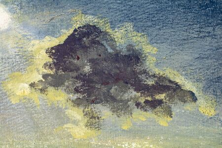 Painting clouds on sky - macro close up fragment art painting artwork on canvas Zdjęcie Seryjne