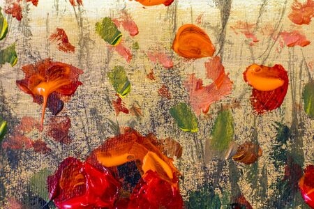 Acrylic painting close up. Beautiful red poppies flowers - floral background. Red wildflowers on a yellow background. Zdjęcie Seryjne