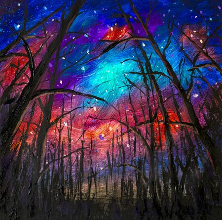 Original acrylic painting Night landscape. Beautiful illustration starry sky through trees in forest artwork art on canvas.